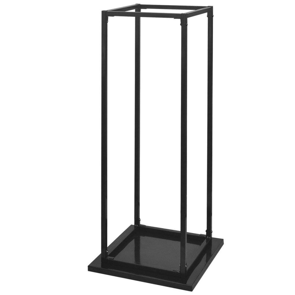 vidaXL Bastidor rectangular almacenamiento leña/ madera altura 113 cm material acero