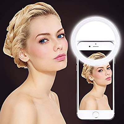Selfie Ring Light, UINSTONE Selfie Light LED for iPhone Samsung Galaxy Sony and Other Smart Phones, 3-Level Brightness Pearl White LED Clip On for All Smartphones/Tablets, Great for Applying Make Up from UINSTONE