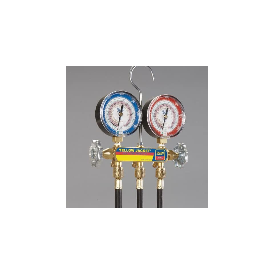 "Yellow Jacket 42044 Heat Pump Manifold with 60"" PLUS II Black Hoses (R 22, R 410A, R 407C)"