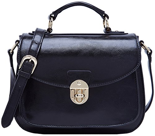 For Ladies Body Cross Retro Black Top Handbag Boyatu Women Vintage Bag Handle Leather pqWSag4E