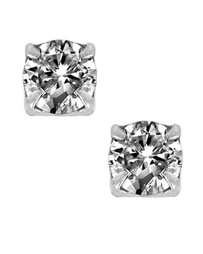 48061ea56 Magnetic Cubic Zirconia CZ Stud Earrings Round Cut Circle Sterling Silver  5mm