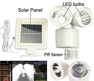 22 SMD LED Outdoor Security Floodlight with Light Sensor and Solar Charger, Motion Activated