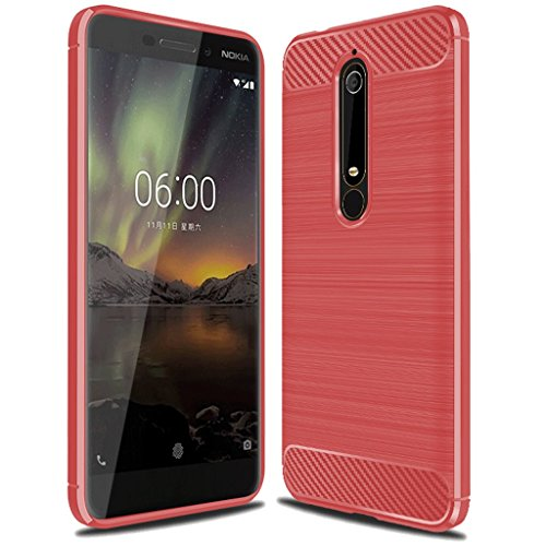 """Nokia 6.1 Case,Nokia 6 2018 Case, """"Not for Nokia 6 2017"""",Sucnakp TPU Shock Absorption Technology Raised Bezels Protective Case Cover for Nokia 6 2018 (TA-1068) smartphone (Red)"""
