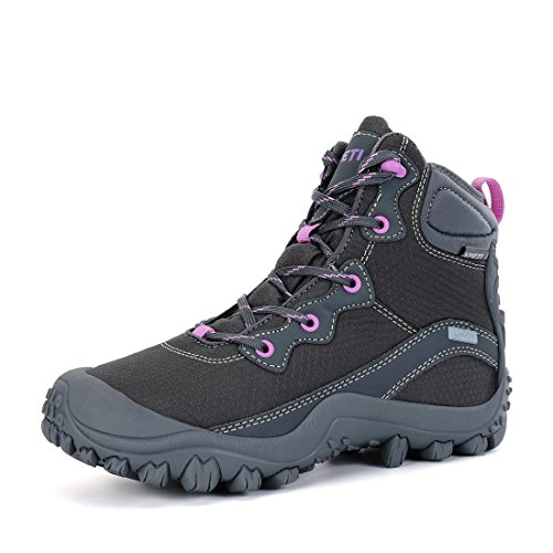 XPETI Women's Mid Rise Waterproof Hiking Outdoor Boot Walking Gray (Mid Waterproof Walking Boots)