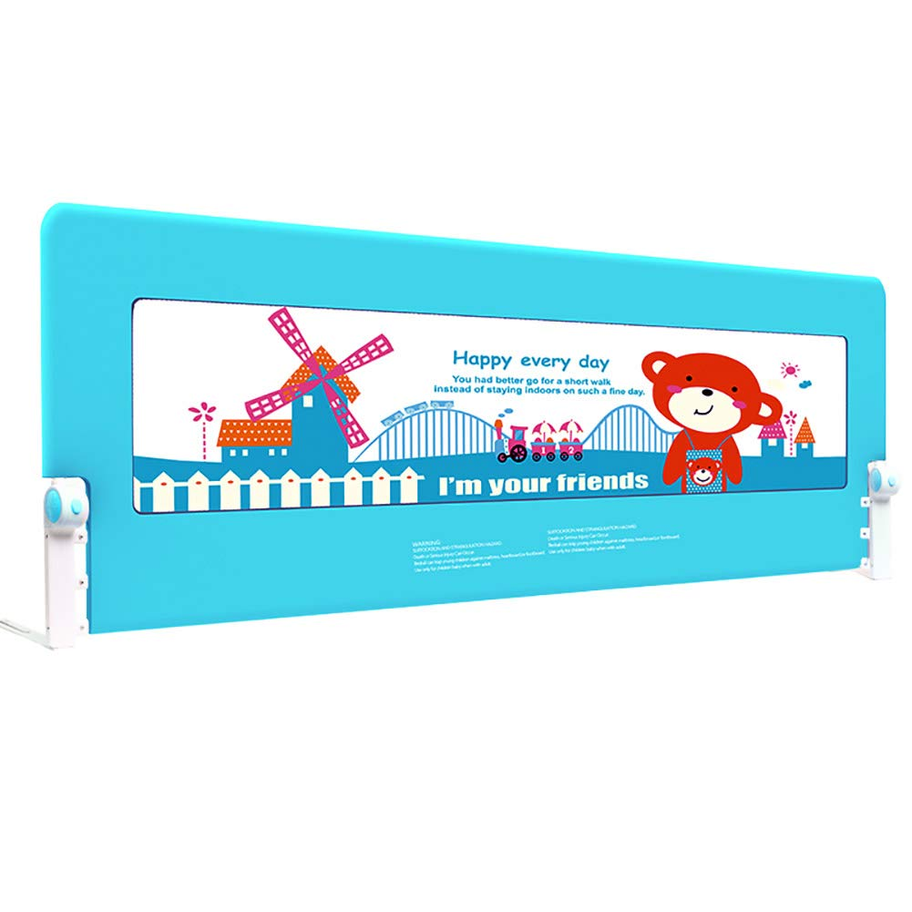 ベッドフェンス 150cm幼児安全ベッドレールベッドレールガード折り畳みユニバーサルマットレス金属フレームベッドフェンス、ブルー   B07JQ5988K