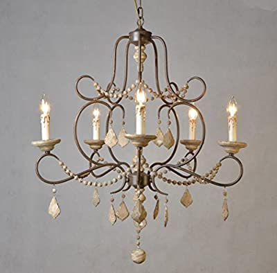 Avery French Country 5 Light Wood And Iron Chandelier