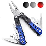 14-in-1 Survival Multi Tool by Thomas Weyker - For Camping, Fishing, Travel, Home - Stainless Steel With Nylon Stealth (Black/Blue)