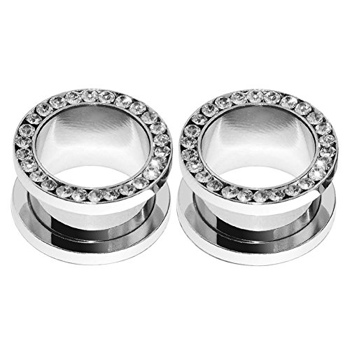 (2pcs Stainless Steel White Single Row Gem Screw Flesh Tunnel Ear Plug Expander Stretcher Body Piercing Jewelry 0g(8mm))
