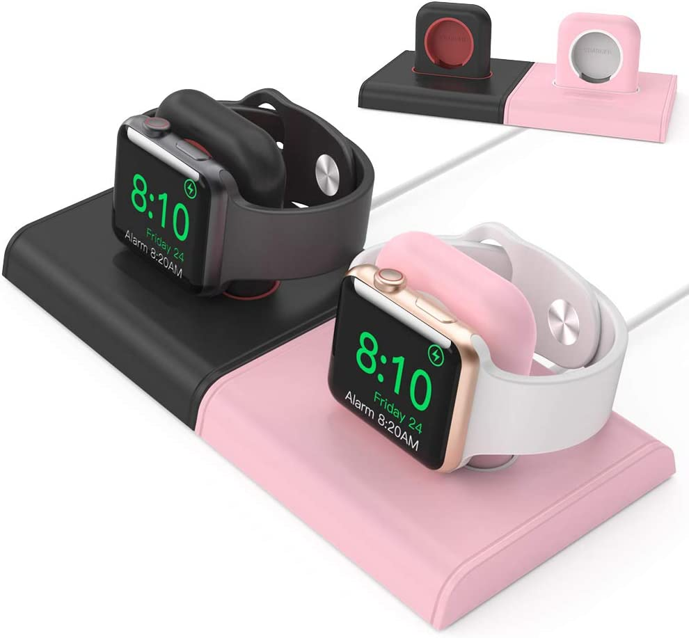 Delidigi Dual Charging Stand Dock ABS Desktop Holder [Magnetic Assembly] Accessories Compatible with Apple Watch Series SE/6/5/4/3/2/1(44/42/40/38mm), Supports Nightstand Mode(2 Pack, Black+Pink)