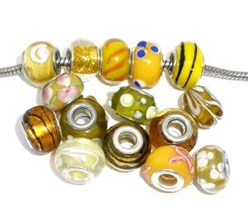 PJewelry Ten (10) Pack of Assorted Yellow- Gold Glass Lampwork Beads for Snake Chain Charm -