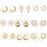 9 Pairs Golden Bohemian Vintage Tribal Swirl Spiral Hoop Earrings Set For Women (golden)