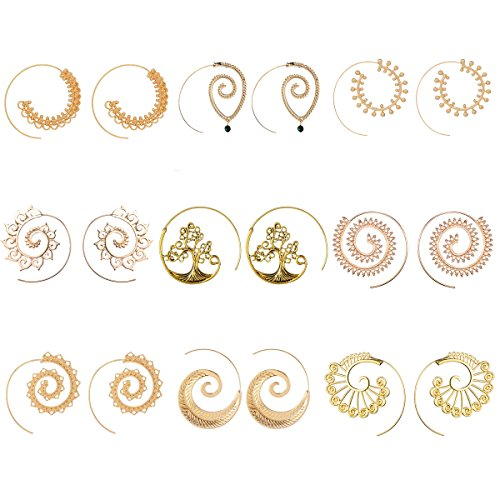 9 Pairs Golden Bohemian Vintage Tribal Swirl Spiral Hoop Earrings Set For Women (golden) (Swirl Spiral Collection)