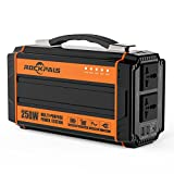 250-Watt Portable Generator Power Source Power Inverter, 222WH CPAP Battery Pack Home Camping Emergency Power Supply Charged by Solar Panel/Wall Outlet with Dual 110V AC Outlet, DC 12V Ports, USB Port