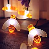 elecfan Long Patio String Lights, 20ft Waterproof 30 LEDs Honey Bee Shape Garden Lamp, Festival Decoration Fairy Lights Great for Indoor Ourdoor Party Christmas Halloween Backyard Café Deck - White