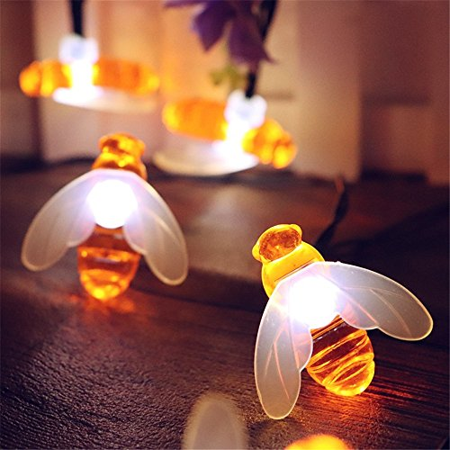 elecfan Long Patio String Lights, 20ft Waterproof 30 LEDs Honey Bee Shape Garden Lamp, Festival Decoration Fairy Lights Great for Indoor Ourdoor Party Christmas Halloween Backyard Café Deck - White by elecfan