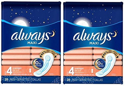 Maxi Always Maxi Size 4 Overnight Pads Without Wings, Unscented, 28 Count (Pack of 2) (Always Maxi Pads Overnight Extra Heavy Flow)