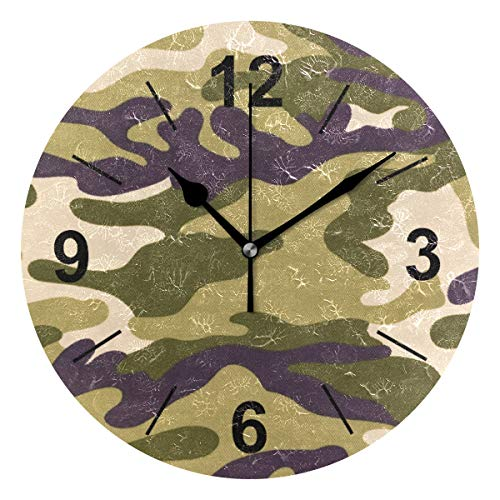Double Joy Wall Clock Round Camo Pattern 10 Inch Diameter Silent Decorative for Home Office Kitchen - Wall Dimension Clock Camo