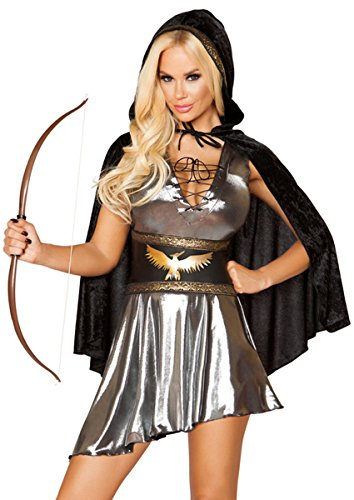 Sexy Katniss Everdeen Hunger Games Lace-Up Dress with Waist Cincher and Hooded Cape - Gunmetal/Black - (Sexy Katniss Costumes)