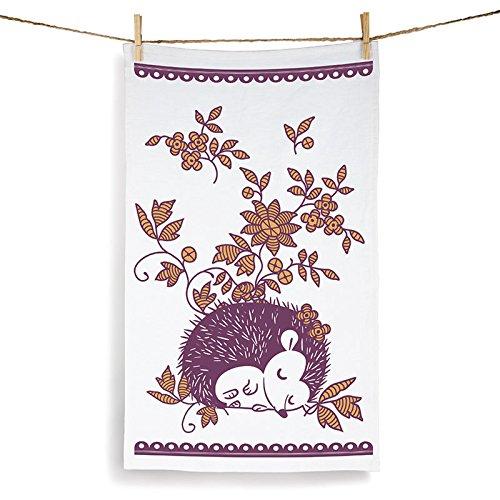 Sleeping Hedgehog Purple on White Set of 2 Tea (Purple Hedgehog)