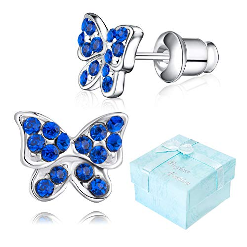 Buyless Fashion Girls Butterfly Stud Earrings Silver Surgical Stainless Steel - E100BTSPR