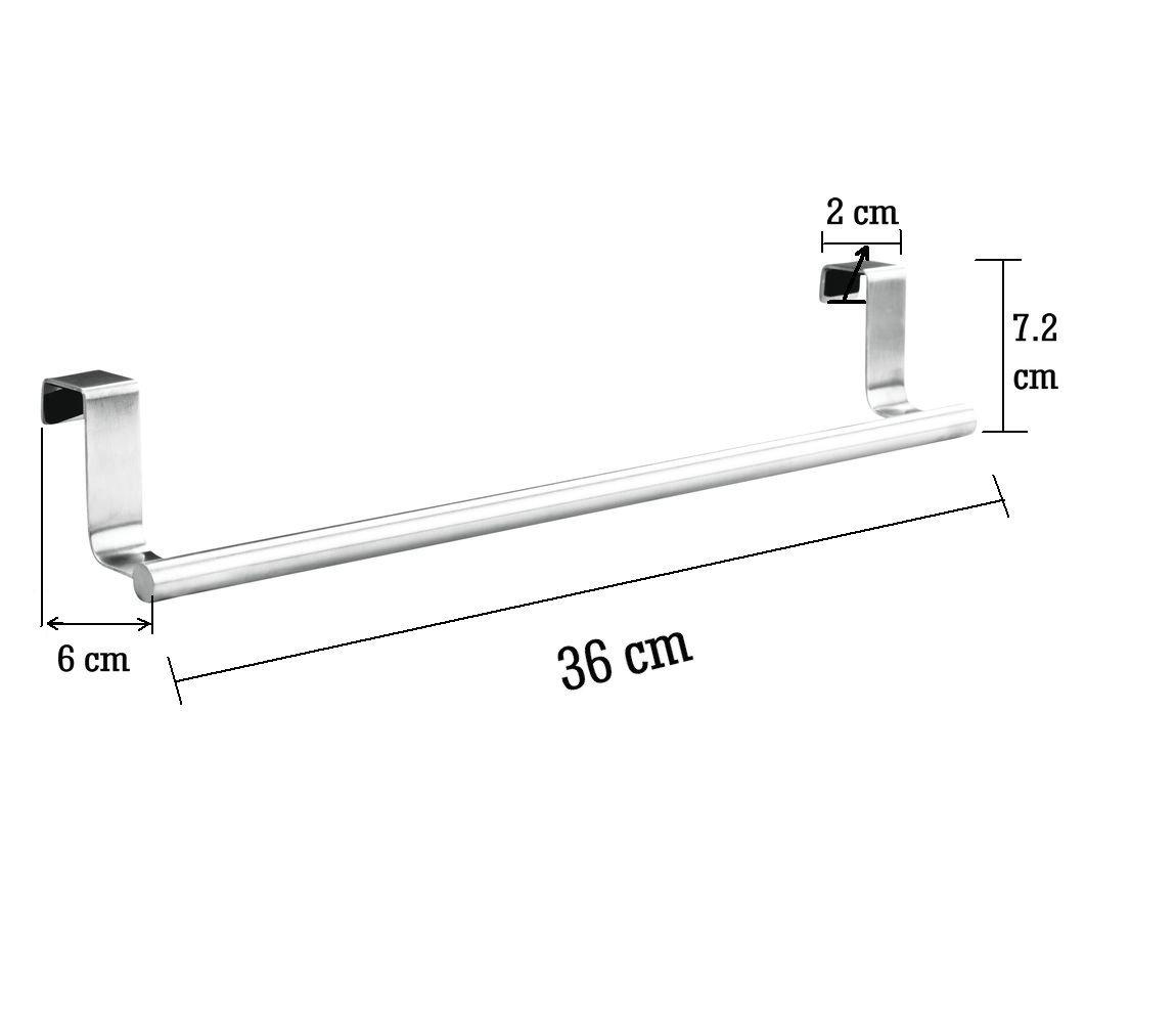 Percha Para Puerta Ideal Cocina Y Ba/ñO Acero Inoxidable Pulido Para Puertas Y Armarios Barra Para Toallas 23 cm