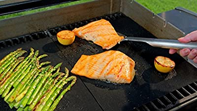 Keku Set of 2 Highest Quality BBQ Barbecue Grill & Baking Non-stick Mats Reusable for Years, FDA Approved, Works on Any BBQ Grill or As Oven Baking Pan Liners Can Be Cut to Fit Dishwasher Safe