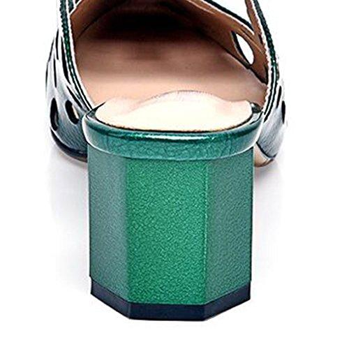 Grossier Couleur Baotou Chaussures Carrés Avec Eté Sandales taille Air Vert Sandales Vert Et Gris MUMA Europe Pantoufles Nouveau Femmes Femme Escarpin Avec Femme Amérique 2018 Vide Vert Chaussures 5SnBnfR