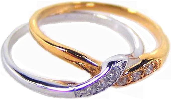 Clear Cubic Zirconia 2 Piece Puzzle Ring Two-Tone Plated Sterling Silver