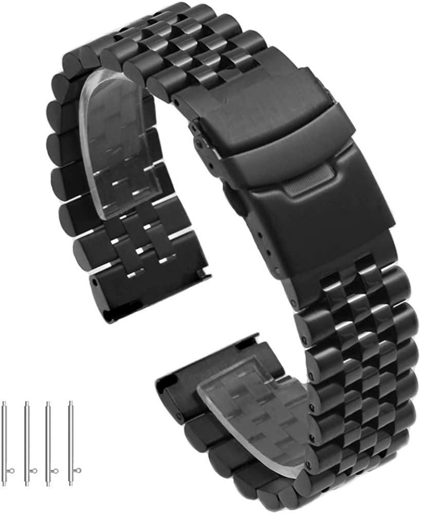 Super 3D Engineer Quick Release Silver Black Stainless Steel Watch Band Screw Fixed Watch Strap with Double Lock Diver Clasp Polished Brushed Adjustable Metal Tapered Link 20mm 22mm 24mm