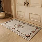 European Modern Country Style Jacquard Rug Bedroom Bedside Living Room Bathroom Entry Skid-resistant Rug Washable Floor Pad ( Color : 100150cm-a )
