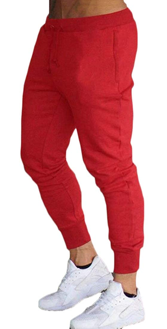 Mens Fitted Gym Joggers Workout Pants Sweatpants Running Track Pants