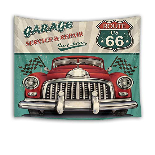 HVEST Retro Tapestry Vintage Car Garage with Route 66 Wall Blanket for Bedroom Living Room Dorm Wall Decor,60 W X 40 H INCH