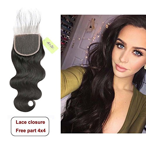 Beauty : Indian Body Wave Lace Closure, Re4U Unprocessed Virgin Human Hair 4x4 Lace Closure Free Part Top Swiss Light Brown Lace Made Closure(Natural Black Color 16inch 50g)
