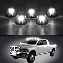 Carrep Universal 5x Smoked Cab Roof Top Marker Running Lamps Clearance Light Lamp with 9 LED Bulb for 2003-2012 Dodge Ram 1500 2500 3500 4500 5500 (5 Smoked Marker)