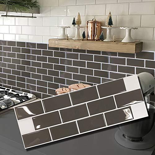 - BEAUSTILE Decorative Tile Stickers Peel and Stick Backsplash Fire Retardant Tile Sheet (Subway) (5, Chocolate Brownie)