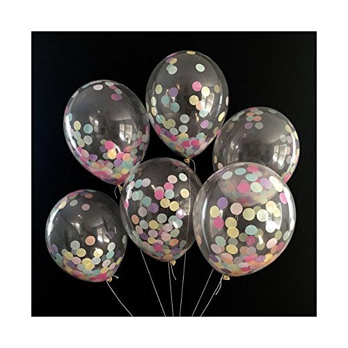 12 Inch Confetti Balloons Latex Transparent Balloons Wedding Birthday Party Decor,20 Count