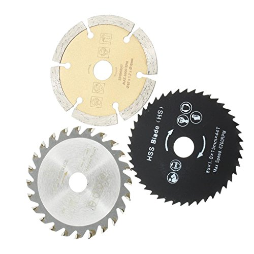 Fityle 3PCS Circular Saw Blade Steel 54.8MM Tooth Hollow Ground for Concrete Cement Wood Carbide-tipped