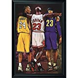 NBA Legends Lebron James, Michael Jordan & Kobe Bryant Wall Art Decor Framed Print | 24x36 Premium (Canvas/Painting Like) Textured Poster | Basketball Fan Memorabilia Gifts for Guys & Girls Bedroom