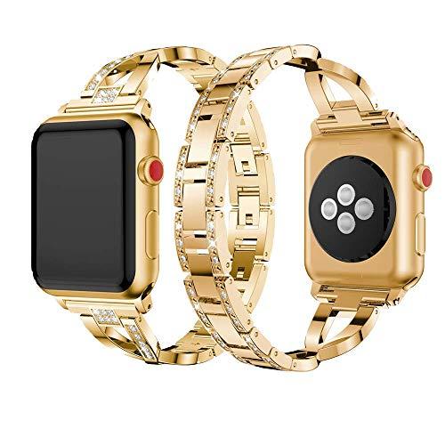 Dassions Metal Cuff Bangle Bracelet Bling Rhinestone Diamond Wristband X-Link Glitzy Strap Band for Apple Watch Band 38mm 40mm Women Iwatch Series 4, Series 3, Series 2 Series 1 (38mm/40mm Gold)