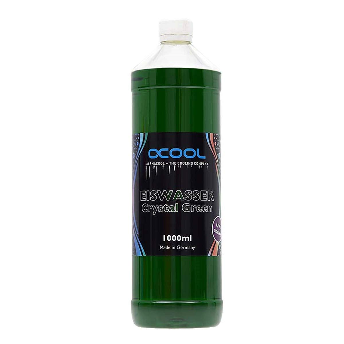 Alphacool Eiswasser Crystal Premixed Coolant (for Long-Term Use), 1000ml, Green UV