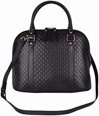 8045da9e75a Gucci Women s Leather Medium Convertible Micro GG Dome Satchel Purse (Black  449663)