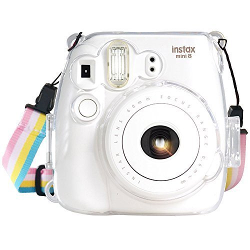 Fujifilm Instax Mini 8 / Mini 8+ / Mini 9 Crystal Case - Wolven Crystal Camera Case With Adjustable Rainbow Shoulder Strap for Fujifilm Instax Mini 8 / Mini 8+ / Mini 9 Instant Camera - Transparent