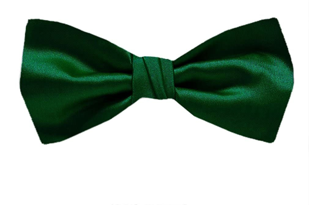 Boys Solid Color Satin Banded Pre Tied Bowties Ages 2-13