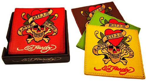 OKSLO Set of 4 ed hardy `love kills slowly` leather coasters