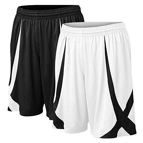 TOPTIE Men's Basketball Shorts, Flag Football Shorts No Pockets, MMA Pro Shorts-2 Pack - Black/White-M