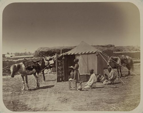 Photo: Central Asia, travel, servant, Bukaran tent, samovar, c1865 . Size: 8x10 (approximately)