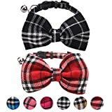PUPTECK 2 pcs Breakaway Bowtie Cat Collar - Classic Plaid Kitten Collars with Bell Charm Red & Black