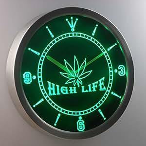 Amazoncom nc0039g Marijuana Hemp Leaf High Life Bar Neon Sign