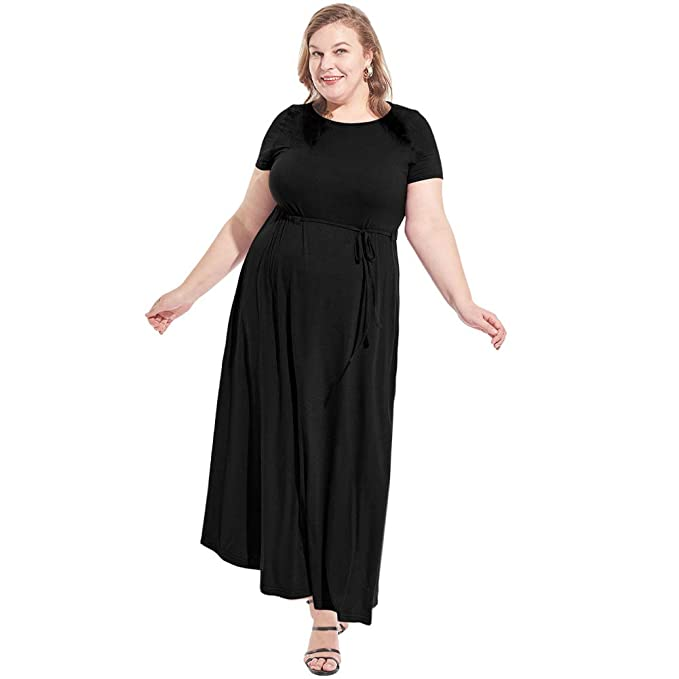 Love is Lovely Women\'s Plus Size Crew Neck Short Sleeves Casual Maxi Dress