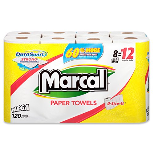 Marcal Paper Towel Bundle, 8 Mega Rolls with 120 U-Size-It Sheets - Strong & Absorbent Paper Towels for Home or Office 01178